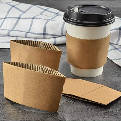 Kraft Paper Hot Cup Sleeve Jacket Holder   Corrugated Cardboard Protective Hot And Cold Insulator   Espresso Coffee Milk Tea Beverage And Hand Protector (Kraft, 100)