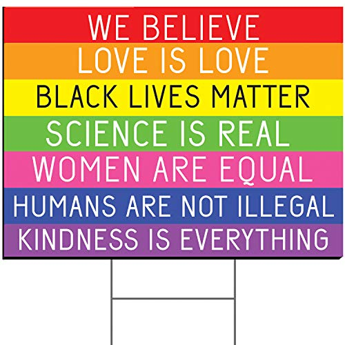 Tees & Tails We Believe Love is Love Black Lives Matter Lawn/Yard Sign Small or Large (Stake Included)
