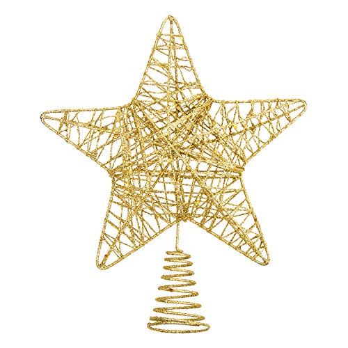 VEYLIN Christmas Tree Topper, 10 Inch Metal Glitter Star Treetop for Home Decoration