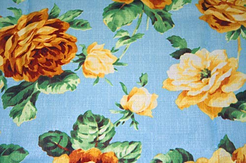 Sana Enterprises Premium Quality Polyester Tablecloth with Beautiful Print of Roses on a Sky Blue Background for All Occasions Such as Weddings, Banquets and Everyday Use - 70 Inches Round