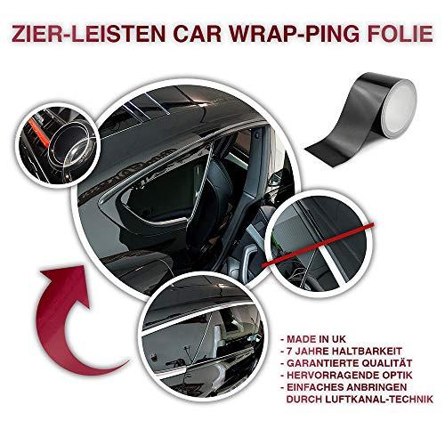 auto-Dress.de Zier-leisten Chrom-leisten Schwarz Glanz/Matt Car wrap-ping Folie 10m x 8cm Luftkanal (110 Black Gloss)