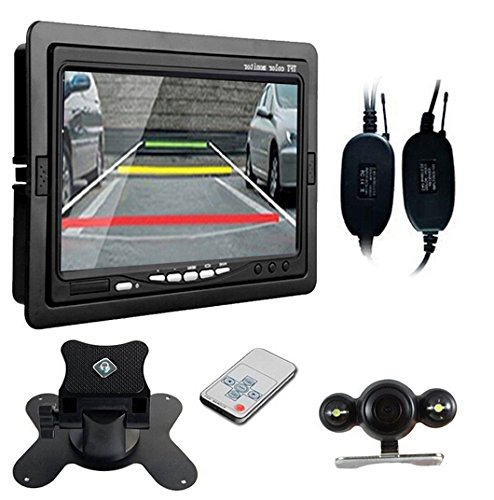BW® Promotion 17,8 cm Rétroviseur de voiture avec écran tactile Moniteur LCD TFT + Caméra vision nocturne sans fil étanche secours