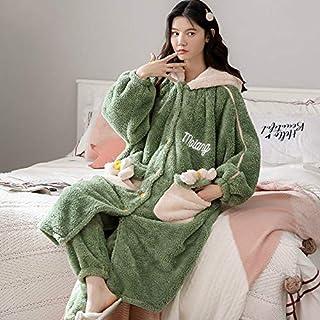ALXY Pijamas de Mujer Grueso Pijamas cálido Coral vellón Bata otoño e Invierno Peluche Suelto hogar Ropa de Mujer Pijamas Pareja casa Pijamas (Couleur : A13, Taille : XL)