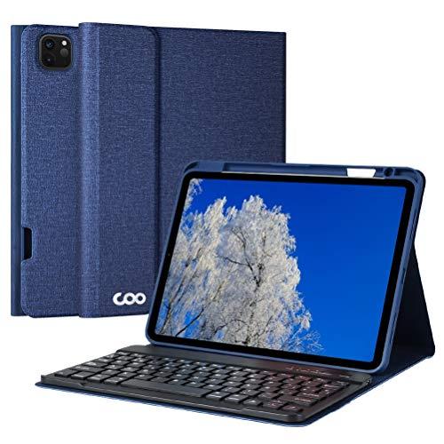 Funda con Teclado iPad Pro 11 2020/2018, Funda iPad 11' con Ranura de Lápiz y Teclado Español Bluetooth Desmontable para iPad Pro 11 2020,Cubierta Magnética Múltiples Ángulos de Visión(Azul oscuro)