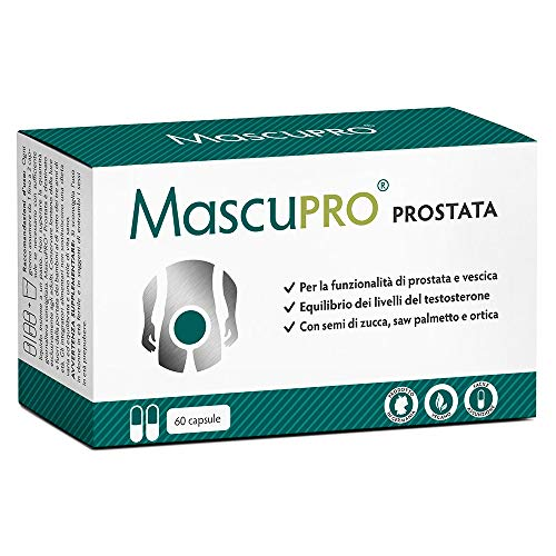 Prostata Integratori   MascuPRO® Prostata e vescica - 60 capsule - vegan - con zucca, saw palmetto, ortica ecc. - Prodotto in Germania