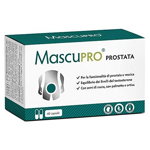 Prostata Integratori | MascuPRO® Prostata e vescica - 60 capsule - vegan - con zucca, saw palmetto, ortica ecc. - Prodotto in Germania