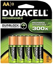 Duracell Rechargeable AA NiMH Batteries, MIGNON/HR6/DC1500, 2450mAh, 8-Count Package