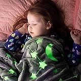 Glow in The Dark Throw Blanket – Fun Birthday Gifts for Kids, Girls, Boys & Grandkids - All Season Premium Super Soft Plush Fluffy Fleece Throw Blanket for Kids, 6+ Hour Glow, 50' x 60'