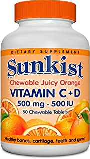 Sunkist Vitamin C and D Chewable Tablets 500 mg, Juicy Orange, 80 Count by Sunkist