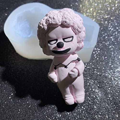 Sheuiossry Molde de resina de payasos de dibujos animados hechos a mano con diseo de payasos 3D, figura de disfraz, molde de silicona para manualidades de resina epoxi, exquisito y creativo
