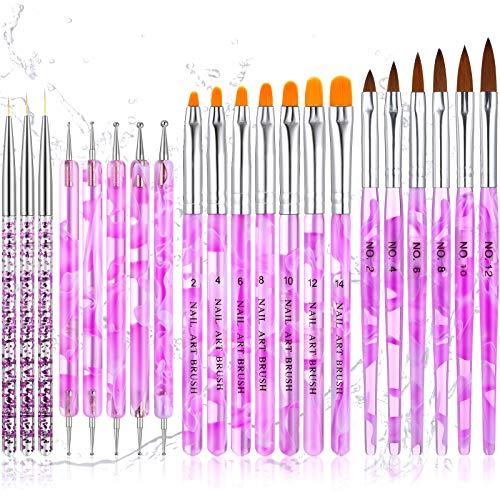 21 Pieces Acrylic Nail Art Brush Set UV Gel Nail Brush Nail Painting Brush Pen Nail Art Dotting Pen Nail Art Tip Builder Brushes Nail Art Liner Brush for Nail Salon Home DIY Nail Favor (Purple)