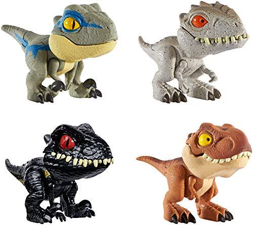 Jurassic World Dinobocazas  Pack de 4 dinosaurios de juguete para niños  años  Mattel