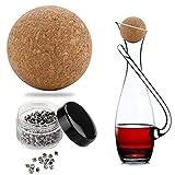 Rybtd Tappi a Sfera in Sughero in Legno 2.4 lnch/61MM Sfera di Sughero Decanter con 400 Pz Perline di Pulizia in Acciaio 2.5 * 3.5MM per la Sostituzione della Bottiglia in Vetro di Vino