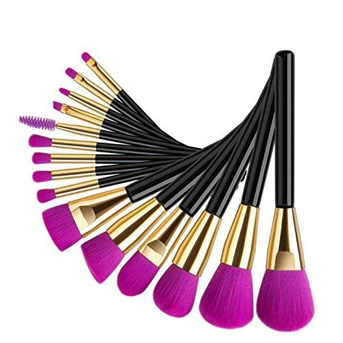 FUHOAHDD 15 pièces Pinceau de Maquillage Définir Violet Brosse de Fondation Brosse à lèvres Professionnel Cosmétiques Beauté Outils