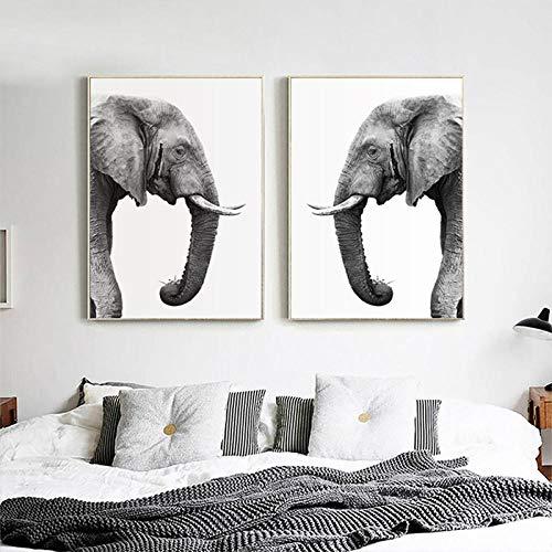 nobrand olifant dier poster Nordic eenvoudige zwart-wit-grijs-druk canvas schilderij kinderkamer muurkunst schilderij schilderij voor wooncultuur No Frame-30x40cmX2