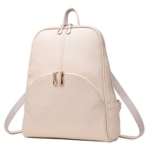 Nevenka Brand Women Bags Backpack PU Leather Zipper Bags Purse Casual Backpacks Shoulder Bags (WHITE)