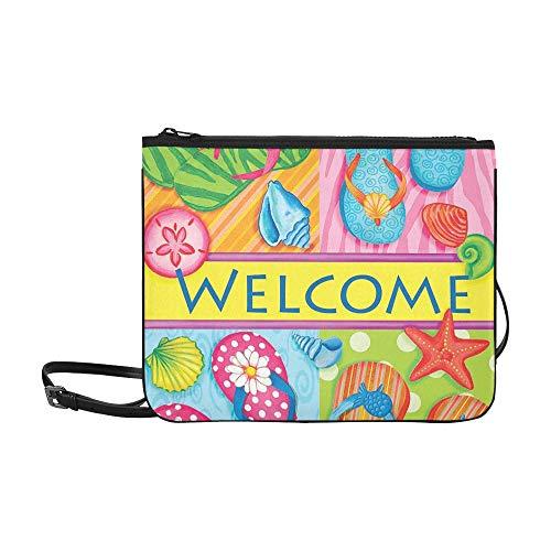 Kleinkind Umhängetasche Flip Flop Willkommen am Summer Beach Sea Shell Verstellbarer Schultergurt Schöne Modetaschen Für Frauen Mädchen Damen Lässige Umhängetasche Umhängetasche