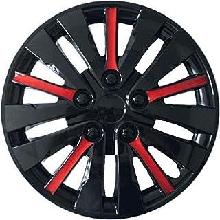 Radzierblenden Radblenden Radkappen (Satz 4 Stück) TOKIO 15'   schwarz mit roten Streifen   019225   Set mit Parkscheibe