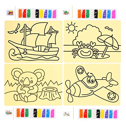 Sand Art Kit, Sand Painting Toy Kit DIY Sand Art Painting Kit Tablero de Dibujo Set DIY Aviones educativos Velero Oso...