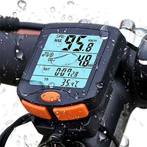 WLLP Bicycle Speedometer and Odometer Wireless Waterproof Cycle Bike Computer, Multifunctional Waterproof Motion Sensor, with LCD Display Multi-Functions