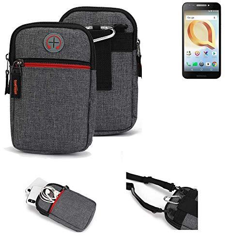 K-S-Trade® Gürtel-Tasche Für Alcatel A30 Plus Handy-Tasche Holster Schutz-hülle Grau Zusatzfächer 1x