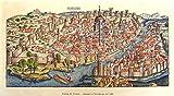 Stampa Antica Mappa di Firenze, Incisione del 1493, Stampata a Norimberga. su Carta antich...