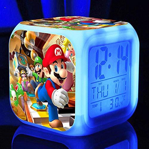 Super Mario Bros Wecker Bild Anpassen Wecklicht USB Kinder LED Uhr Cartoon Nachtlicht Blitz 7 Farbwechsel Digitaluhr Elektronische SchreibtischuhrC.