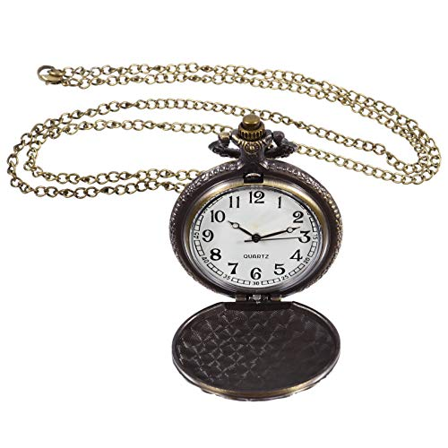 VILLCASE Relógio de Bolso Relógio de Bolso Retro Vintage Com Corrente Relógio Pendurado para Homem Adulto Aniversário Aniversário Aniversário Dia Dos Namorados Presente (Rosa)
