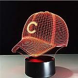 Baseball Team C Kappe 3D Licht Hiphop Hut Nachtlicht LED Schreibtisch Tischlampe für Kinder Schlafen Licht Für Sport Fan Beste Geschenk