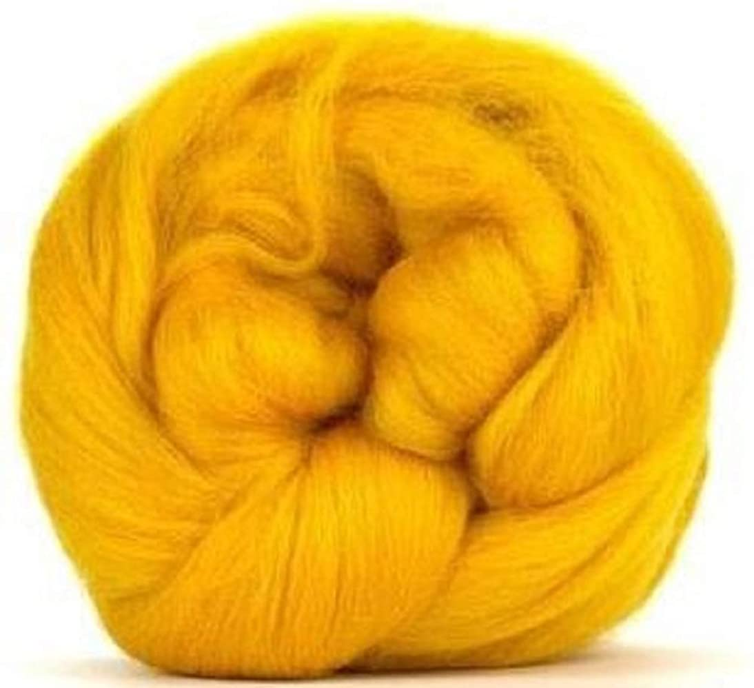4 oz Paradise Fibers 64 Count Dyed Sunset (Yellow) Merino Top Spinning Fiber Luxuriously Soft Wool Top Roving for Spinning with Spindle or Wheel, Felting, Blending and Weaving