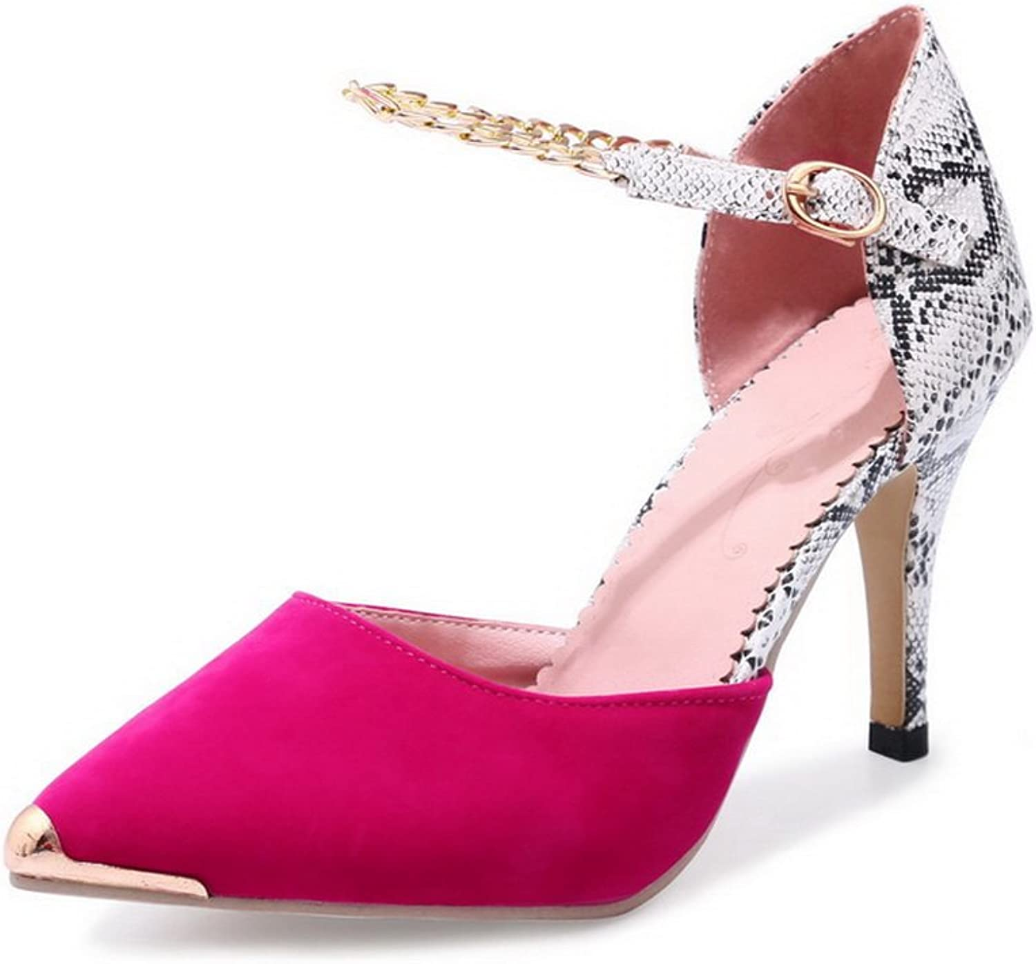AdeeSu Womens Glitter Pointed-Toe Metal Buckles Spikes Stilettos Urethane Pumps shoes SLC03593
