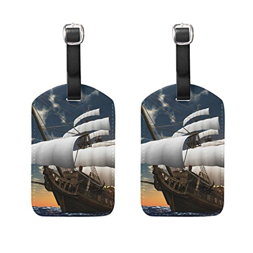 COOSUN Pirate Sailing Boat Luggage Tags Travel Labels Tag Name Card Holder for Baggage Suitcase Bag Backpacks, 2 PCS