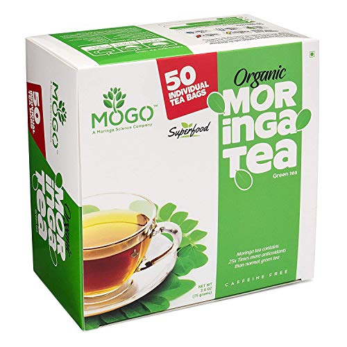 Original Organic Moringa Tea (50 Single Tea envelope bags).Immunity,Energy & Mood Booster.Antioxidants & Flavonoids Rich,Stress Relief,Delicious
