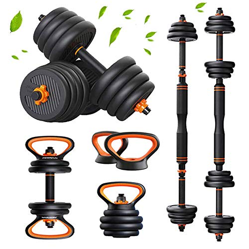 6 in 1 Multifunctional Free Weights Dumbbells Barbells Kettlebell Set with Connecting Rod, Adjustable Dumbbells 60lb for Men or Women Barbell Weights Set for Home Gym,40lb(20kg)