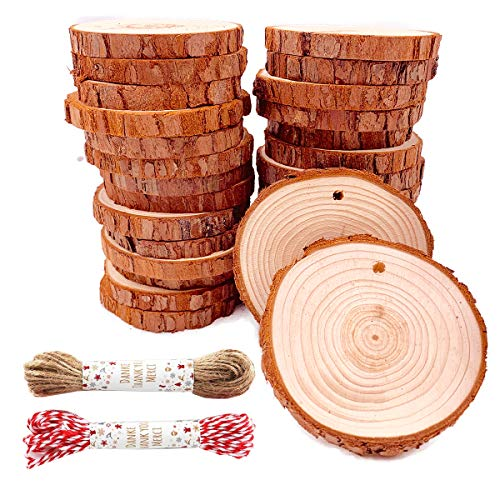 Unfinished Natural Wood Slices 30 Pcs 2.4'-2.8' Inch Wood coaster pieces Craft Wood kit Predrilled with Hole Wooden Circles Great for Arts and Crafts Christmas Ornaments DIY Crafts Rustic Wedding Orna