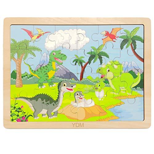 iLink 24 Stück niedliches Dinosaurier-Puzzle aus Holz für Kinder, handgefertigtes Spielzeug für Kinder im Alter von 2 3 4 5 6 Jahren, kostenlose Aufbewahrungstasche und Ständer