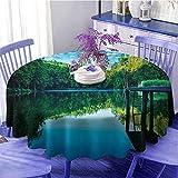 Naturaleza mantel redondo ideal de madera Puente Árboles Bo
