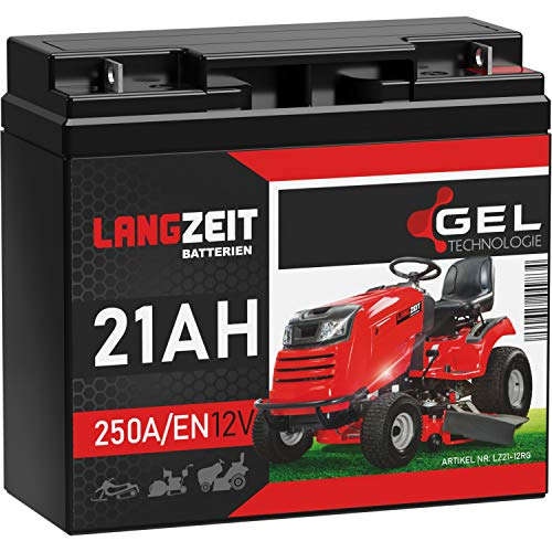 LANGZEIT Rasentraktor Batterie 12V 21Ah 250A/EN Gel Batterie Akku 12V doppelte Lebensdauer ersetzt 17Ah 18Ah 20Ah 22Ah 23Ah vorgeladen auslaufsicher wartungsfrei