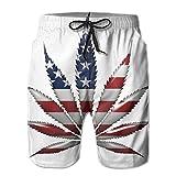 ZQ-SOUTH Men's Marijuana Leaf American Flag Quick Dry Summer...