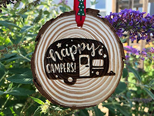 Eden533ope Wooden Christmas Ornament Happy Campers Rustic Ornament Newell Coach Wood Slice Personalized Winnebago RV Airstream