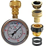"""PLG Quick Connect/Disconnect Water Pressure Gauge Kit,2 in.Gauge w/Oil, 0 psi 230 psi,Push-Lock 3/4"""" GHT Hose Connector,3/4"""" to 1/2"""" Spigot Adapters"""