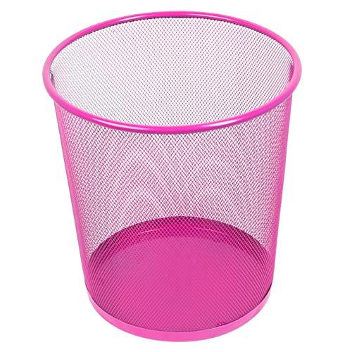 Leviatan Papierkorb aus Drahtgeflecht Draht Mesh | Büro Mülleimer | Abfalleimer | Papiereimer 266x218x280mm 12L Rosa