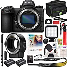 Nikon Z6 Mirrorless Camera Body FX-Format Full-Frame 4K Ultra HD with FTZ Mount Adapter for F-Mount Lenses and Deco Gear Travel Gadget Bag Case + Extra Battery & Accessory Kit Editing Software Bundle