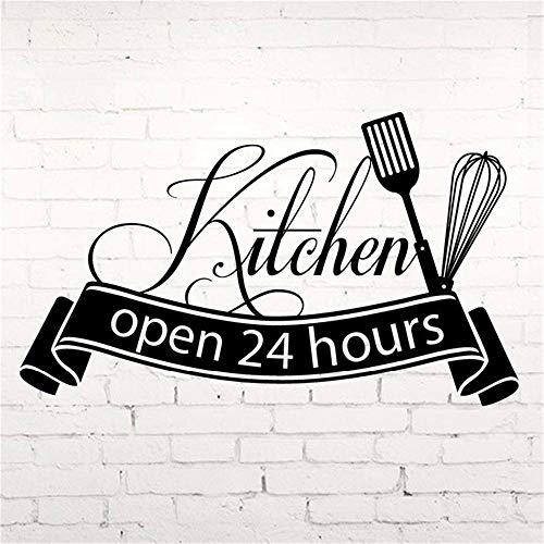 Etiqueta engomada de la pared gourmet abierta 24 horas cocina corte vinilo calcomanía decoración del hogar cocina pared azulejo pegatina moda arte calcomanía 57x97cm