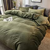LT&NT Flannel Soft Duvet Cover, Reversible Quilt Cover Velvet Comforter Covers Solid Color Comforter Protector with Zipper Closure 1 Piece for Adults Kids-Green Queen-200x230cm(79x91inch)