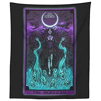 "The Morrigan Death Tarot Card Tapestry - Pagan Gothic Witch Wall Hanging Home Decor (60"" x 50"")"