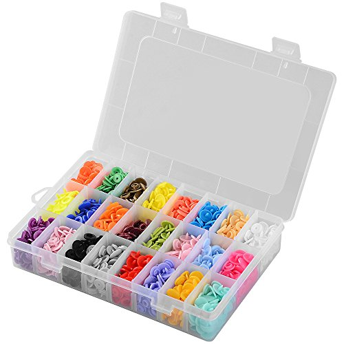 360 sets Kits de botones a presión surtidos 24 colores Accesorios de broches de costura de resina T5 con estuche de almacenamiento organizador