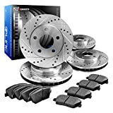 R1 Concepts CEDS11169 Eline Series Cross-Drilled Slotted Rotors And Ceramic Pads Kit - Front and Rear