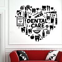 牙科诊所墙贴 牙科护理墙贴 墙饰 牙齿贴花 乙烯基牙科医院装饰壁画 42X37cm