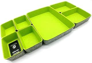 Welaxy Office Drawer Organizers Trays Felt Storage Bins Drawers dividers Organizer bin, Pack of 7 (Spring Green)